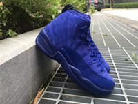 Wholesale Deep Royal Blue s Retro Premiu Blue Suede Mens Basketball Shoes Men Women XII Sports Athletic Sneakers Kids