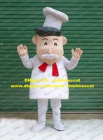 baker clothing - Lively Light Pink Cook Chef Kitchener Baker Mascot Costume Cartoon Character Mascotte White Clothes Gray Hair No Free Ship