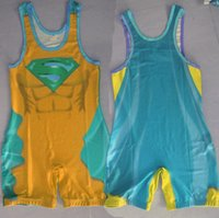 Wholesale SIZE custom Superman Wrestling Singlet in All Size Power Lifting Suit