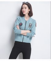 baseball institute - Baseball uniform female zipper knitting cardigan sweater coat han edition loose women fashion institute wind short coat jacket