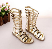 Wholesale New Summer Girls Sandals Hollow Weave Star Flat Sandal Shoes High boot Campagus Fashion Gladiator Shoes Yard Golden Black Roman Boots