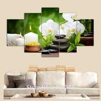 flower picture frame - 5 panel wall art oil painting stone white flower candels home decoration canvas prints pictures for living room framed art F