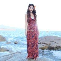 Wholesale new Korean version women summer bohemian dress Ice silk Beach vacation V neck spaghetti strap printing dress Beach dress