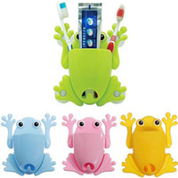 Wholesale 1x Cute Frog Toothbrush Makeup Tools Wall Stick Paste Organizer Holder Hook E00222 CAD