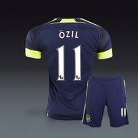 arsenal podolski jerseys - Mesut Özil arsenal third black Jersey with shorts soccer uniforms Ozil alexis ramsey walcott wilshere podolski giroud