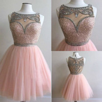 Wholesale Fashion Cocktail Dresses Jewel Beaded Collar Sheer Neck Evening Dress With Applique Tiered Sheer Back Peplum Custom Made Prom Gowns