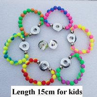 Wholesale 12pcs Mix Colors Fashion Girls cm Length Handmade Acrylic Beads Noosa Chunks mm Snap Button Bracelet For Children Jewelry