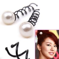 Wholesale 3 Women Girls Pearl Spiral Spin Screw Bobby Hair Pins Hair Clips Lady Twist Barrette Accessory Hair Accessories