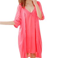 Wholesale Women s Pajamas Pieces Summer Nightgown Robe Suit Set Sexy Silk Nightdress Princess Sleepwear Lace Sweet Pajama