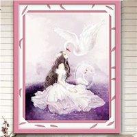 Diy Paint Дрель Swan Princess Character Бриллианты Вышивка Украшение Живопись 5D Кирпич Crossing вышивки