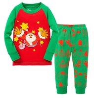 Wholesale kids christmas sleepwear children clothing boys suits girls cotton deer stripe tops pants pajamas santas little helper sleepwear sets set