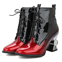 arrival meds - women new arrival ankle boots lace up short shoes with multicolored and abnorm heel old school punk style shoes with large size SCP042