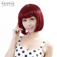Wholesale Neitsi inch Red wine J g pc Straight Fiber Hair Wigs Womens Synthetic BOBO Hair Synthetic Hair Cosplay Synthetic Hair Wigs