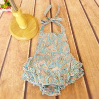 Wholesale New Sweet Baby Girls Classic Print Rompers Ruffles Halter Summer Romper Backless Halter Design Cute Toddler Baby Clothing