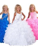 angelic kids flower girl dresses - 2016 Sell like hot cakes Blue pink angelic hot sale Beautiful Flower Crystal kids pageant dresses Flower Girl Dresses