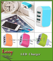 Wholesale 2016 New US EU Plug USB Wall Chargers V A LED Adapter Power Adaptor with triple USB Ports For Mobile Phone