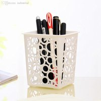 Wholesale Desktop Square Hollow Plastic Storage Basket Storage Box Pen Holder H0010482