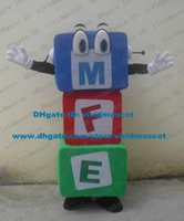 big eye building - Authentic Varicolored Building Block Mascot Costume Cartoon Character Mascotte Adult Big Blue Eyes Short Legs ZZ1620 Free Ship