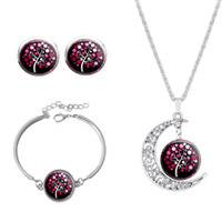 alloy images - 2016 Date Vintage Silver Jewelry Sets Your Moon Image Tree Glass Necklace Earrings Sets Women Bracelet Christmas Gift