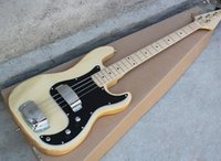 Wholesale Burly Wood string Electric Bass Guitar with Black Pickguard Maple Fingerboard Bridge with coverOffer Customized