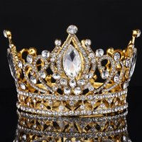 Wholesale Big European Royal Crown Golden Rhinestone crown Tiara Super Large Quinceanera Crown Wedding hair Accessories