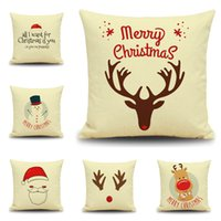 Wholesale Christmas Pillow Case Office Reindeer Snowman Cushion Cover Home Sofa Hold Pillowcases Cartoon XMS Gift Pillow Cover