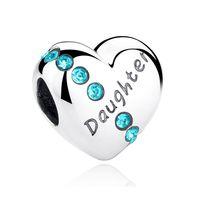 achat en gros de pandora fille perle-925 Sterling Silver Charm Beads Daughter flottante Heart Charm Pandora Bracelets Bracelets Haute Qualité Bijoux Cadeau Famille C007