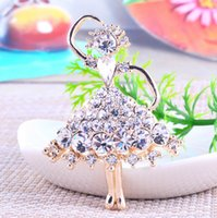 american girl invitations - Rhinestone broche girl ballet Brooch Alloy Jewelry Breast Pin invitation wedding party dresses broches sweater blouse brooches hijab pins