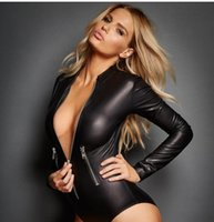 Wholesale Adult Leather Lingerie Sexy Catsuit Costumes For Women PVC Long Sleeves Zipper Croth Front Wet Look Dress Cosplay Costumes L6536
