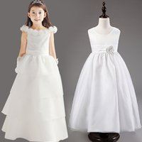 Wholesale Cheap Noble Girls Wedding Pageant Flower Dress Communion Tulle Tutu Junior Bridesmaid Dress with Bow Tie Sash for Age T