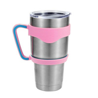 beer cups plastic - 2016 DHL OR EMS pink handle for oz yeti rambler tumbler plastic handle fit for vacuum insulated cup portable outdoor beer mug with handle