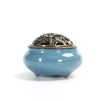 Wholesale New chinese Ceramic Coil incense burner with Metal Copper Cover incense holder for stick cones sandalwood incense Home Decoration
