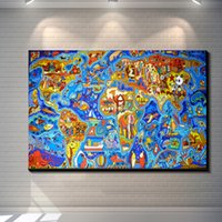 Cheap Vintage Abstract FANTASY WORLD MAP Painting Picture Canvas Poster Bar Pub Home Art Decor Custom Print Canvas Painting