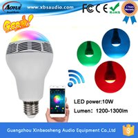 Wholesale 2016 Hot Wireless Bluetooth W LED Speaker Bulb Audio Speaker LED Music Playing Lighting With app Remote Control