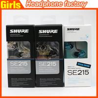 Wholesale English version Se215 black clear blue In Ear Handsfree Earphones Headset Shuring se215 in ear dynamic earphone Fast shipping