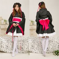 Cheap Anime costumes Japanese novel character Yaya cosplay dress Black color kimono for girls Halloween cosplay suit