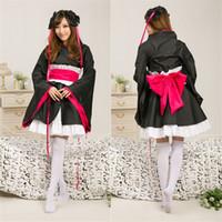 Cheap Anime costumes Japanese novel character Yaya cosplay dress Black color kimono for girls Halloween cosplay suit