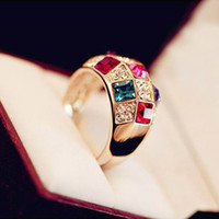 Wholesale Hot Selling Austrian Crystal Rings For Women Factory Price Fashion Jewerly Lady s Colorful Ring