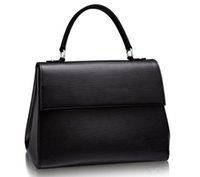 interior trim - Women Cluny MM M41334 Black Color Épi Cowhide Leather Tote and Shoudler Bags Smooth Cowhide Leather Trim Microfiber Lining Removable Strap