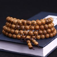 Wholesale 108 cm Wenge Prayer Beads Tibetan Buddhist Mala Buddha Bracelet Rosary Wooden Bangle Jewelry