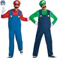 adult party themes - Adults Super Mario Uniform Suit Cosplay Theme Costume Plumbers Overalls Cap Moustache Party Halloween Clothing Props Drop Shipping WS0014
