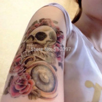 auto body products - Temporary Arm Tattoos waterproof Big sex products makeup tattoo body art henna tatouage pc AX33 Skull Rose pocket watch sticker auto