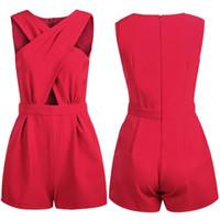 Signore delle donne Clubwear scollo a V tutina aderente partito tuta di modo i pagliaccetti delle donne V Neck tuta pantaloni Clubwear partito copre 4 colori