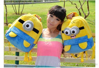 Wholesale 25cm Yellow fashion cute despicable me toddler baby boys girls backpack children pp plush minions toy school bag kids backpacks good MYF16B