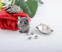 antique rivet clothing - Sets Antique Silver Owl Rivet Studs Spots x2 cm x3 mm Bag Leather Clothes J1752