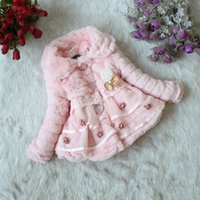 Wholesale Baby Girls Winter Coats and Jackets Princess Lace Flower Beading Plate Bow Children Outerwear Toddler Kids Faux Fur Clothes