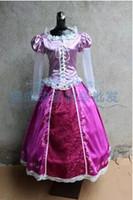 Wholesale Tangled Princess Rapunzel Women Girls Pink Long Dress Party Cosplay Costume