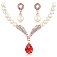 Wholesale jewelry sets african beads Platinum plating austrian crystal fashion necklace earrings wedding women bridal European set jewelry