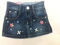 beaded jeans skirts - Jeans skirt Factory New short Skirts above Knee Jewelry Inlaid Baby Kids Above Knee Elastic Jeans