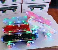 Wholesale 10pcs Skateboard Bluetooth Wireless Scooter Speaker Mobile Audio Mini Portable Speakers with Led Light Christmas gift Hot